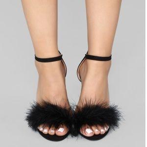 Fashion nova black feather heels